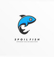 logo spoiled fish line art style vector image
