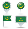 Map pins with flag of Mauritania vector image vector image