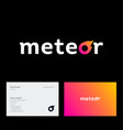 meteor logo letter o like comet business card vector image