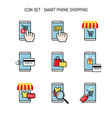 mobile shopping smart phone merchant and buyer vector image