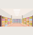 modern library interior bookshelf empty no people vector image vector image