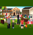people having a garage sale vector image