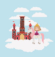 princess with unicorn in the clouds and castle vector image vector image