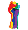 rainbow clenched fist vector image vector image
