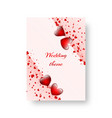 rectangular greeting card with scarlet hearts vector image vector image