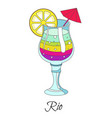 rio cocktail rainbow drink with lemon slice and vector image vector image