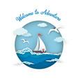 sea postcard adventure style paper art vector image