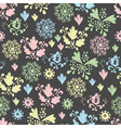 seamless floral pattern drawn in chalk vector image vector image