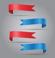 set of blue and red ribbon vector image vector image