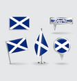 set scottish pin icon and map pointer flags vector image