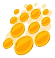 Shiny golden coins falling on white background vector image
