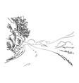 sketch rural road hand drawn vector image