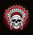 skull indian native american warrior mascot vector image