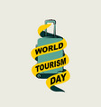 suitcase with world tourism day text ribbon vector image vector image
