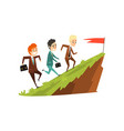 Three businessmen running together on mountain to