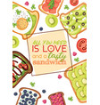 toast sandwich healthy toasted food with bread vector image vector image