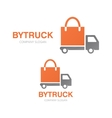 truck and shopping bag logo concept vector image