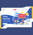 video tutorials flat landing page template vector image