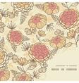 Vintage brown pink flowers frame corner pattern vector image vector image