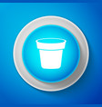 white flower pot icon isolated on blue background vector image vector image