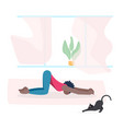 young woman and her cat do yoga together vector image vector image