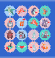 set of icons with cartoon animal cupids vector image