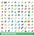 100 doctor icons set isometric 3d style vector image