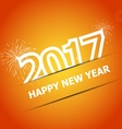 2017 Happy New Year on orange background vector image vector image