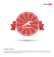 airplane accident icon - red ribbon banner vector image