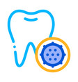 bacteria germ and tooth thin line sign icon vector image