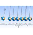 Balancing earth ball Earthquake activity vector image vector image