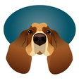 Basset Hound isolated on circle blue frame vector image