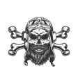 bearded and mustached military skull vector image