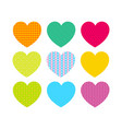 beautiful colored hearts with different patterns vector image