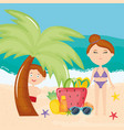 beautiful woman and son with swimsuit on beach vector image