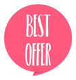 best offer tag red color isolated on white vector image vector image