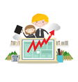 Business People With Raise Graph On Laptop vector image vector image