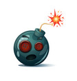 cartoon bomb fuse wick spark icon sewing vector image vector image