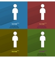 Color set man restroom Flat modern web button with vector image