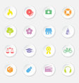 colorful web icon set 6 on white circle button wit vector image vector image