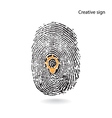 Creative light bulb idea concept with fingerprint vector image vector image