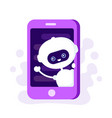 cute smiling robot chat bot in smartphone vector image vector image