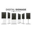 digital signage touch kiosk set display vector image vector image