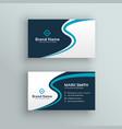elegant blue wave business card design vector image vector image