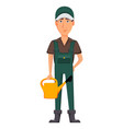 gardener man cartoon character in uniform vector image vector image