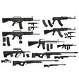 graphic silhouette modern automatic assault rifles vector image