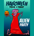 halloween holiday cartoon design with alien vector image