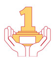 hands human with number one trophy award vector image vector image