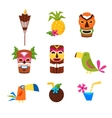 Hawaii Themed Set Of Icons vector image