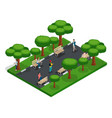 isometric 3d teenagers playing in the park vector image vector image